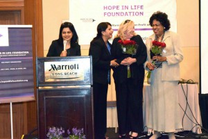 Hon. Diane Watson, Commissioner Santa Monica Diane Watson and Founder Rupsi Burman share a moment during the Leaderships Awards segment of Hope In Life Foundation Inaugural Luncheon